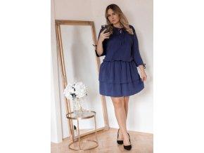Tmavo-modré šaty s nariasenou sukňou