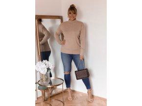 Béžový sveter s jemným vzorom
