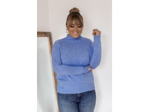 Modrý sveter s jemným vzorom