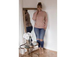 Staroružový sveter s jemným vzorom