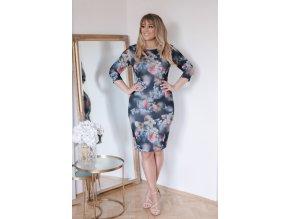Tmavo-modré kvetinové šaty