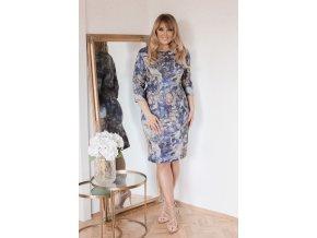Modro-sivé vzorované šaty so strieborným vláknom