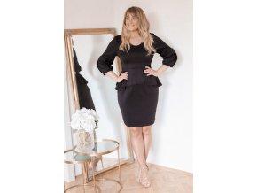 Čierne peplum šaty nad kolená