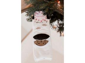 Biele dámske ponožky so šteniatkom
