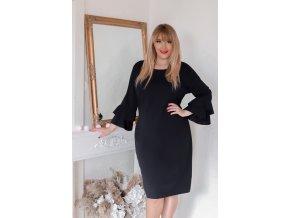 Čierne šaty s volánmi na rukávoch