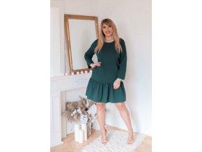Tmavo-zelené šaty s nariasenou sukňou