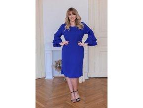 Modré šaty s volánmi na rukávoch
