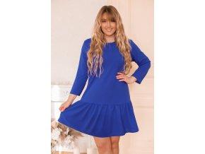 Modré šaty s nariasenou sukňou