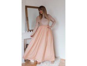 Broskyňové šaty s tylovou sukňou a dlhým rukávom