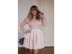 Béžovo-broskyňové minišaty s veľkou sukňou