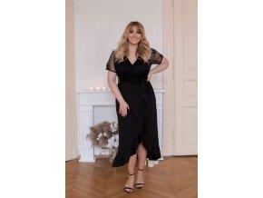 Čierne šaty s krátkym transparentným rukávom