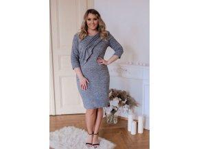 Sivé svetrové šaty s volánom