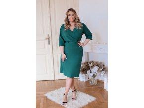 Zelené šaty s výstrihom do V