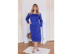 Modré čipkované šaty s dlhým rukávom