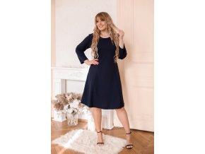 Tmavo-modré šaty áčkového strihu