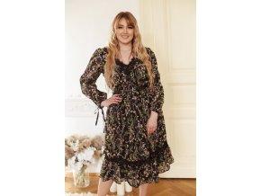 Čierne kvetinové šaty s čipkou