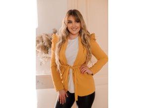 Horčicovo-žlté sako s opaskom