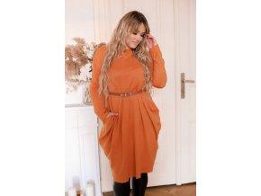 Oranžové svetrové šaty so širokými vreckami