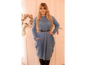 Modré svetrové šaty so širokými vreckami
