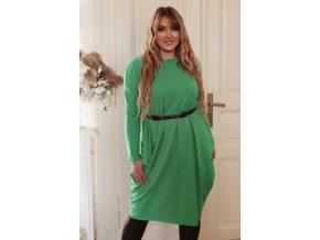 Zelené svetrové šaty so širokými vreckami