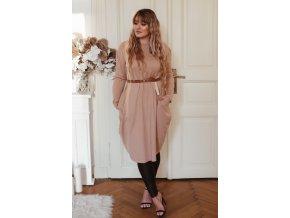 Béžové svetrové šaty so širokými vreckami
