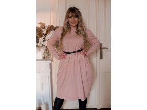 Svetlo-ružové svetrové šaty so širokými vreckami