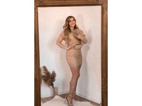 Béžové koženkové šaty s opaskom