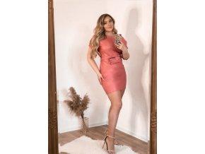 Staro-ružové koženkové šaty s opaskom