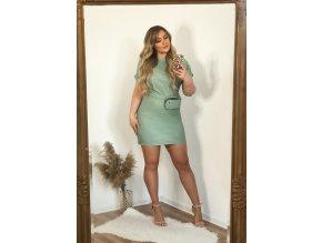 Svetlo-zelené koženkové šaty s opaskom