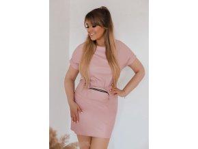 Ružové koženkové šaty s opaskom