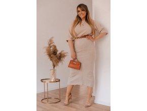 Priliehavá pletená béžová sukňa