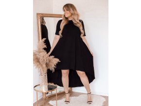 Asymetrické čierne tričkové šaty