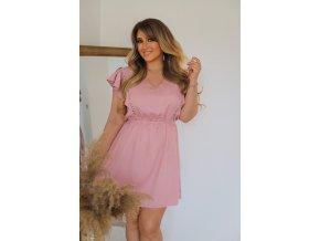 Krátke šaty v svetlo-ružovej farbe