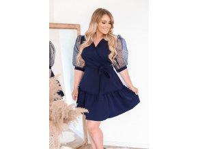 Tmavo-modré zavinovacie šaty s puffovými rukávmi