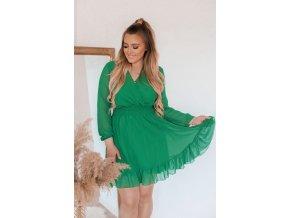 Zelené krátke šaty s dlhým rukávom