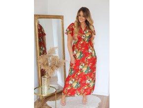 Dlhé červené kvetinové šaty s krátkym rukávom