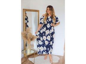 Dlhé kvetinové šaty so spustenými rukávmi - modrá