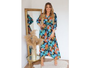 Dlhé modré šaty s tropickým vzorom a gombíkmi