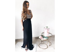 Amazing Gold Lace Overlay Slit Maxi Evening Gown LC60809 4