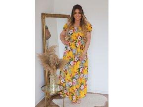 Dlhé kvetinové šaty so spustenými ramenami - žltá