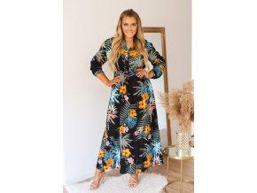 Čierne šaty s dlhým rukávom a tropickým vzorom