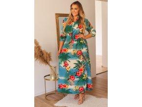 Modro-zelené šaty s dlhým rukávom a tropickým vzorom