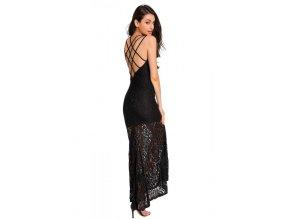 Elegantné čierne dlhé šaty s odhaleným chrbtom