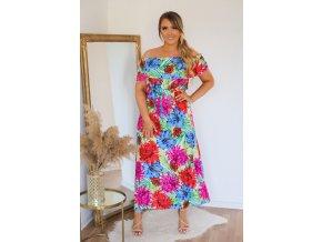 Kvetinové šaty so spustenými ramenami - ružovo-modrá