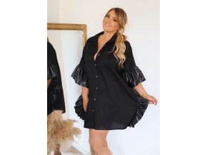 Čierna predĺžená košeľa s koženkovým lemom
