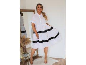 Biele krátke košeľové šaty s krátkym rukávom