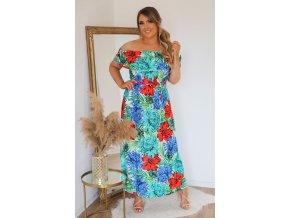 Kvetinové šaty so spustenými ramenami - červeno-modrá