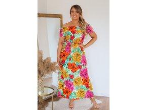 Kvetinové šaty so spustenými ramenami - ružovo-oranžová