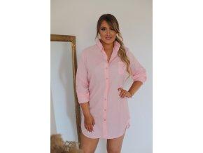 Svetlo-ružová predĺžená košeľa