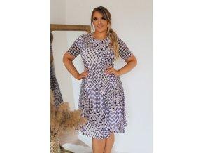 Tričkové šaty s krátkym rukávom a geometrickým vzorom